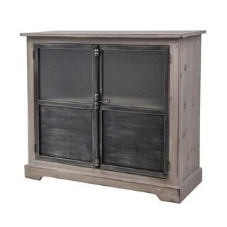 Pine Wood 2 Door Metal and Glass Cabinet, Pale Pine