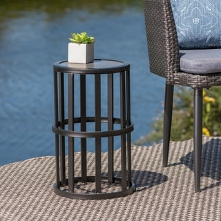 Link to Carlo Outdoor Industrial 11-inch Ceramic Tile Side Table by Christopher Knight Home Similar Items in Outdoor Coffee & Side Tables