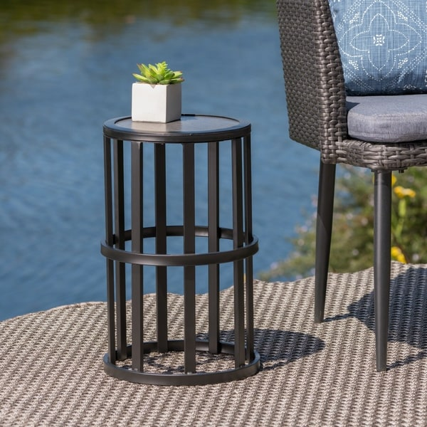 Carlo Outdoor 11 Inch Ceramic Tile Side Table By Christopher Knight Home
