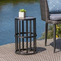 Carlo Outdoor Industrial 11-inch Ceramic Tile Side Table by Christopher Knight Home