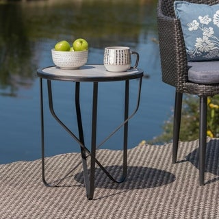 Norfolk Outdoor 18-inch Ceramic Tile Side Table by Christopher Knight Home