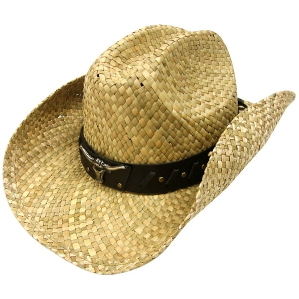 0617d42b7726d Unisex Woven Straw Ranch Cowboy Hat with Shapeable Brim Bull Natural