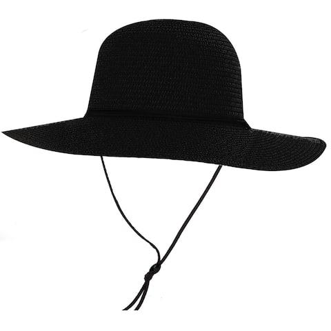 Women's UPF 50+ Wide Brim Braided Straw Sun Hat with Lanyard Black