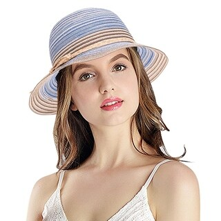 Women's Summer Hat Foldable Floppy Colorful Stripe Hat, Blue (4 options available)