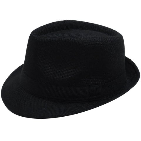 Women Men Summer Gangster Trilby Straw Fedora Hat Cap W/ Brim, Black