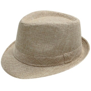 Women Men Summer Gangster Trilby Straw Fedora Hat Cap W/ Brim, Black (Option: Khaki)