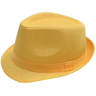 Women Men Summer Gangster Trilby Straw Fedora Hat Cap W/ Brim, Black (Option: Yellow)