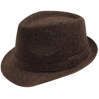 Women Men Summer Gangster Trilby Straw Fedora Hat Cap W/ Brim, Black (Option: Brown)