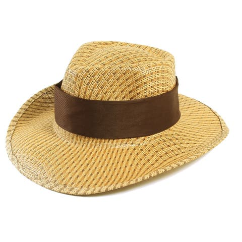 Men's Women's Wide Brim Caps Summer Beach Sun Straw Hats, Brown
