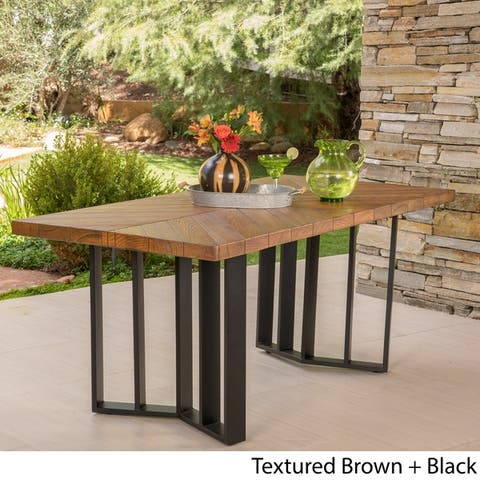 Verona Outdoor Rectangle Light-Weight Concrete Dining Table by Christopher Knight Home
