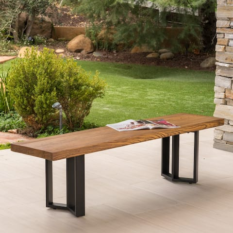 Verona Outdoor Light-Weight Concrete Dining Bench by Christopher Knight Home