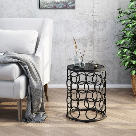 Elm Outdoor 16-inch Ceramic Tile Side Table by Christopher Knight Home