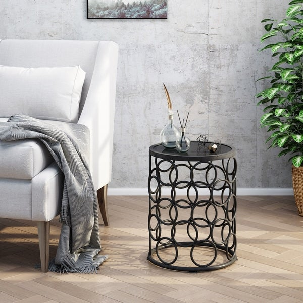 Elm Outdoor 16 Inch Ceramic Tile Side Table By Christopher Knight Home