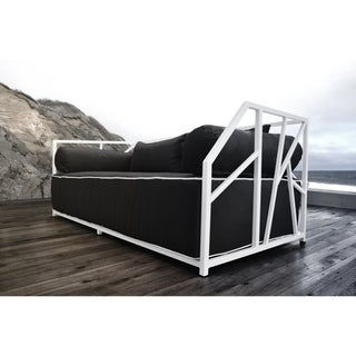 SOLIS Nidum Indoor/Outdoor White Daybed Patio Sofa, Black Cushions