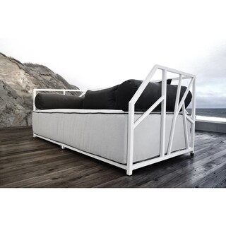 SOLIS Nidum Indoor/Outdoor White Patio Daybed Sofa, Wht/Blk Cushions