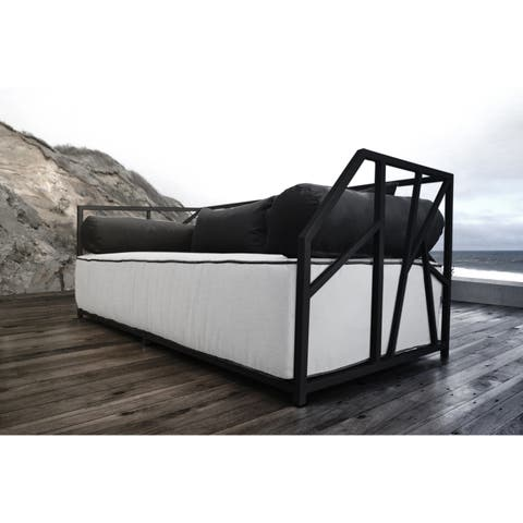 SOLIS Nidum Indoor/Outdoor Black Patio Daybed Sofa, Wht/Blk Cushions