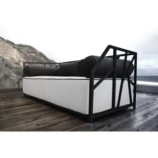 SOLIS Nidum Indoor/Outdoor Black Patio Daybed Sofa, Wht/Blk Cushions
