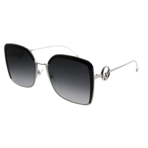 f5c9305ffa825 Fendi Square FF 0294 F Is Fendi 807 Women Palladium Black Frame Grey  Gradient Lens Sunglasses