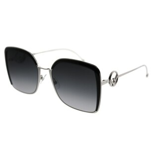 Fendi Square FF 0294 F Is Fendi 807 Women Palladium Black Frame Grey Gradient Lens Sunglasses