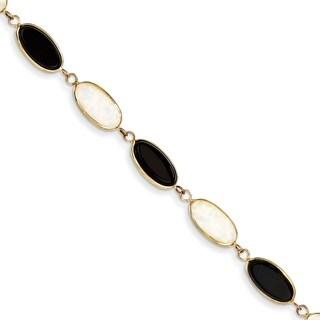 Versil 14 Karat Yellow Gold 8.5 Inch Onyx and Imitation Opal Bracelet