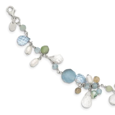 Sterling Silver Lace Agate/Opalite Crystal/Amazonite/Freshwater Cultured Pearl Bracelet by Versil