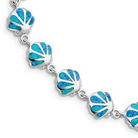 Versil Sterling Silver 7 Inch Created Blue Opal Inlay Shell Bracelet
