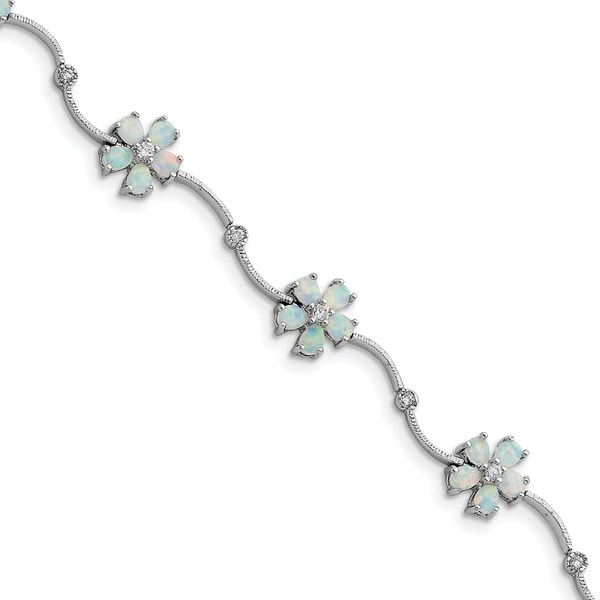 Versil Sterling Silver Rhodium-plated 7 Inch Created Opal and CZ Flower Bracelet