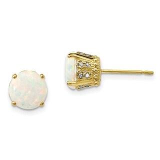 Versil 10 Karat Yellow Gold Polished Diamond Lab Created Opal Post Earrings