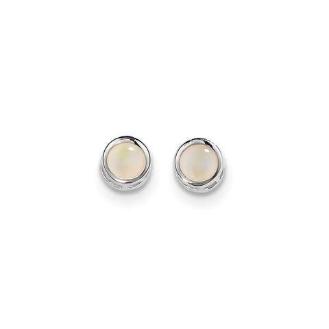 14K White Gold Polished 5mm Bezel Opal Stud Earrings by Versil