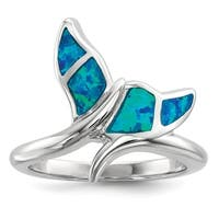Versil Sterling Silver Rhodium-plated Blue Inlay Created Opal Whale Tail Ring