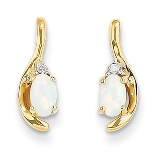 Versil 14 Karat Yellow Gold Diamond And Opal Earrings