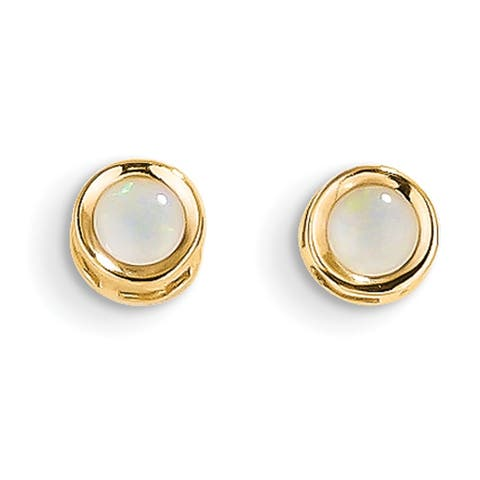 14 Karat Yellow Gold 4mm Round Bezel October/Opal Post Earrings by Versil