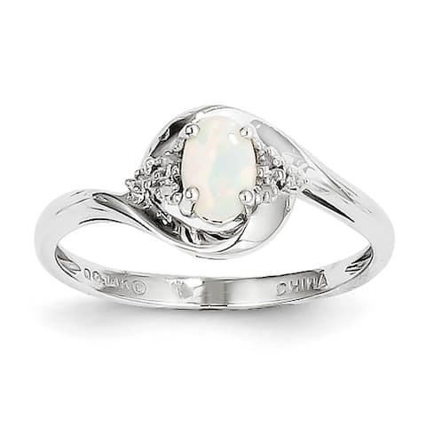 Versil 14 Karat White Gold Opal Diamond Ring