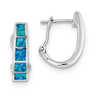 Versil Sterling Silver Blue Inlay Created Opal Squares Hoop Earrings