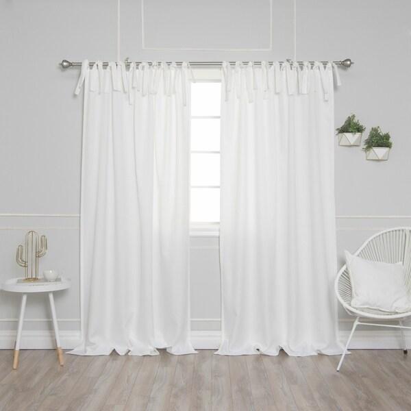 Shop Aurora Home Tie Top Oxford Curtain Panel Pair Free