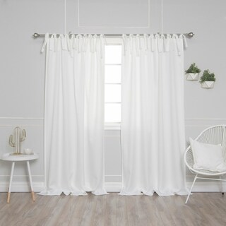 Aurora Home Tie Top Oxford Curtains, Set of 2 Panels