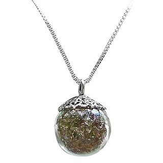 Handmade Vintage Amber Brown Recycled Glass Bottle and Sterling Silver Orb Necklace