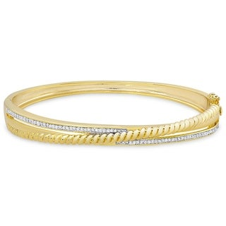 Link to Finesque Gold Overlay 1/2ct TW Diamond Twisted Bangle Similar Items in Bracelets