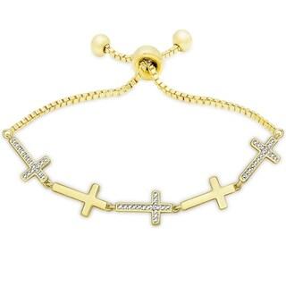 Finesque Gold Overlay Diamond Accent Cross Adjustable Bracelet