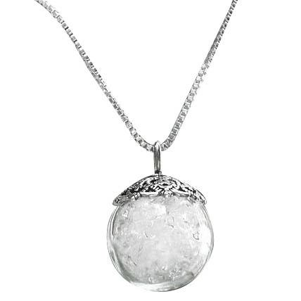 Handmade Vintage Reclaimed Glass Milk Bottles and Sterling Silver Orb Necklace (United States)