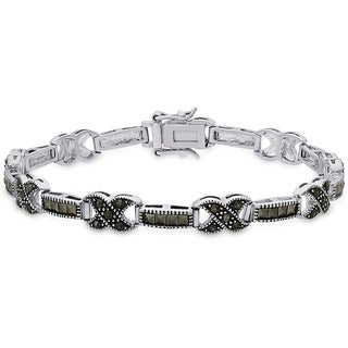 Dolce Giavonna Sterling Silver Marcasite 'X' and Bar Bracelet