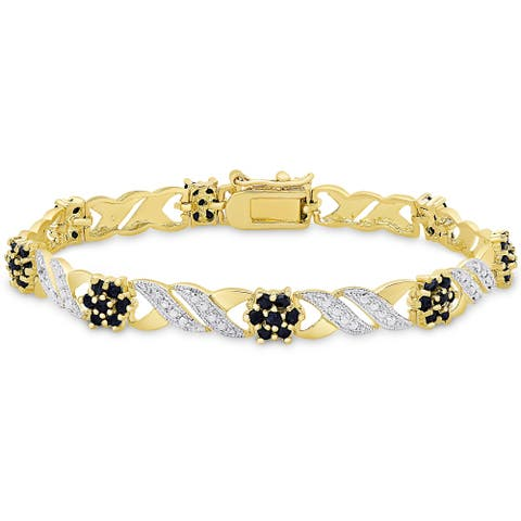 Sapphire and Diamond Accent Gold over Silver Flower Bracelet