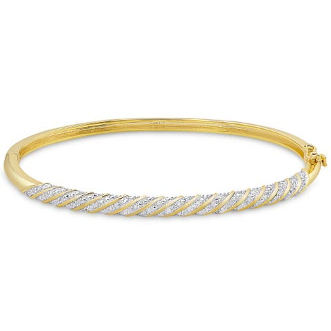 Finesque Gold Overlay 1/2ct TW Diamond Twist Design Bangle