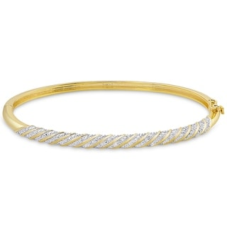 Link to Finesque Gold Overlay 1/2ct TW Diamond Twist Design Bangle Similar Items in Bracelets