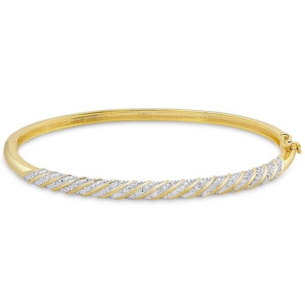 Finesque Gold Overlay 1/2ct TW Diamond Twist Design Bangle. Opens flyout.