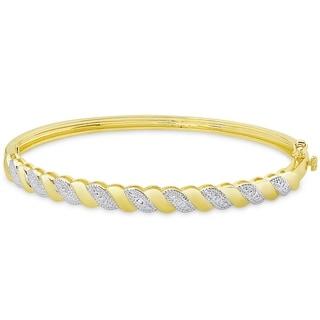 Finesque Gold Overlay Diamond Accent Stripe Design Bangle