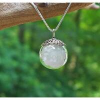 Handmade Recycled Vintage White Milk Glass 1960's Cold Cream Jar and Sterling Silver Orb Necklace (United States)