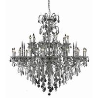 Fleur Illumination Collection Pewter Brass/Crystal 54-inch x 53-inch 30-light Chandelier