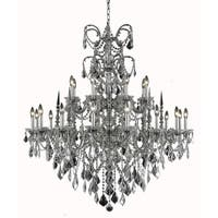 Fleur Illumination Collection Crystal Accents Pewter Finish Brass 24-light 47-inch High x 44-inch Di