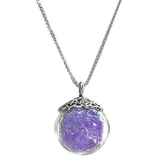 Handmade Early 1900's Purple Medicine Recycled Glass Bottle and Sterling Silver Orb Necklace